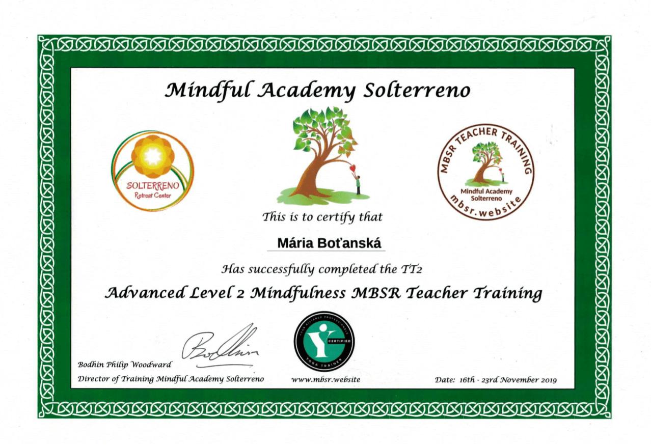 TT2 certifikát Mindfulness Mária Boťanská
